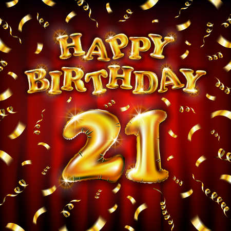 21 Happy Birthday message made of golden inflatable balloon twenty one letters isolated on red background fly gold ribbons with confetti. Happy birthday party balloons concept vector illustration