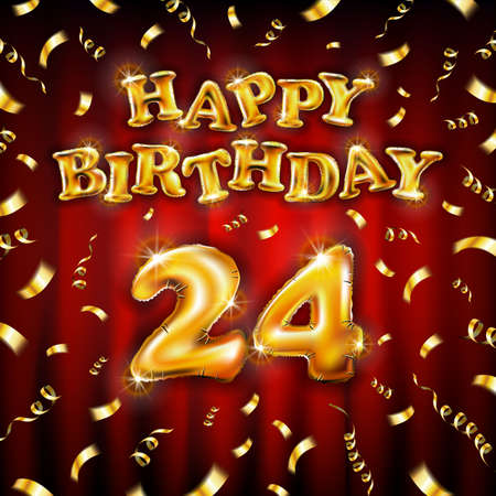 Happy Birthday 24 message made of golden inflatable balloon twenty four letters isolated on red background fly on gold ribbons with confetti. Happy birthday party balloons vector illustration art