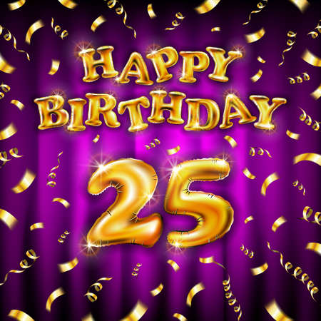 Golden number 25 twenty five metallic balloon. Happy Birthday message made of golden inflatable balloon. letters on pink background. fly gold ribbons with confetti. vector illustration art