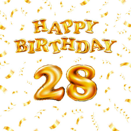 Golden number 28 twenty eight metallic balloon. Happy Birthday message made of golden inflatable balloon. letters on white background. fly gold ribbons with confetti. vector illustration Vettoriali
