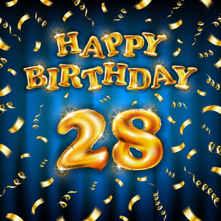 Golden number 28 twenty eight metallic balloon. Happy Birthday message made of golden inflatable balloon. letters on blue background. fly gold ribbons with confetti. vector illustration Vettoriali