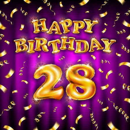 Golden number 28 twenty eight metallic balloon. Happy Birthday message made of golden inflatable balloon. letters on pink background. fly gold ribbons with confetti. vector illustration Vettoriali