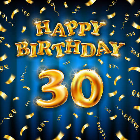 Golden number thirtieth metallic balloon. Happy Birthday message made of golden inflatable balloon. thirty letters on blue background. fly gold ribbons with confetti. vector illustration