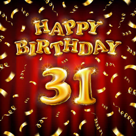 Golden number thirty two metallic balloon. Happy Birthday message made of golden inflatable balloon. 31 letters on red background. fly gold ribbons with confetti. vector illustration art Vettoriali