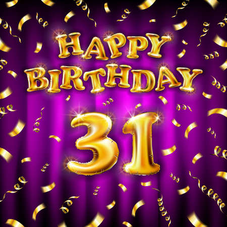 Golden number thirty two metallic balloon. Happy Birthday message made of golden inflatable balloon. 31 letters on purple background. fly gold ribbons with confetti. vector illustration art