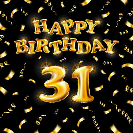 Golden number thirty two metallic balloon. Happy Birthday message made of golden inflatable balloon. 31 letters on black background. fly gold ribbons with confetti. vector illustration art Vettoriali
