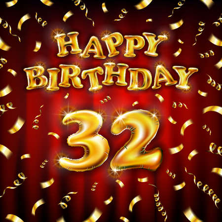Golden number thirty two metallic balloon. Happy Birthday message made of golden inflatable balloon. 32 letters on red background. fly gold ribbons with confetti. vector illustration art
