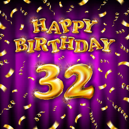 Golden number thirty two metallic balloon. Happy Birthday message made of golden inflatable balloon. 32 letters on pink background. fly gold ribbons with confetti. vector illustration