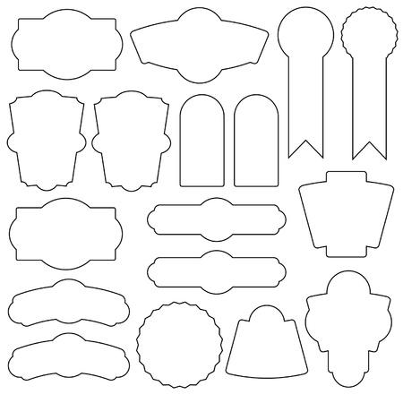 set of 15 simple labels vector vintage design Illustration