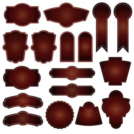 set of 15 brown - dark red labels vector vintage design