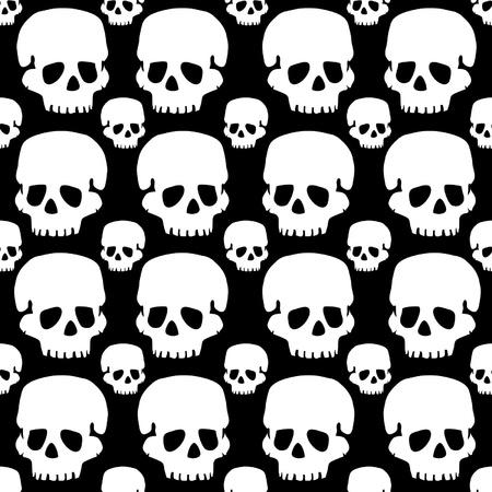 vector skulls pattern monochrome black and white