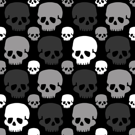 vector skulls pattern monochrome greyscale  Illustration