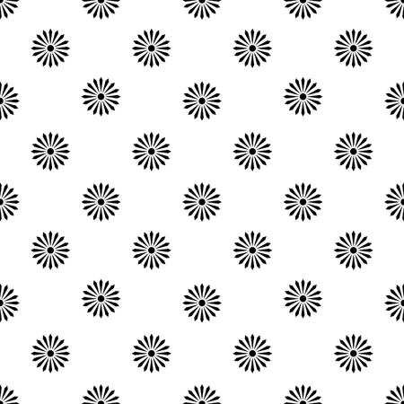 floreal pattern - monochrome black flower over white background - customizable color on vector design