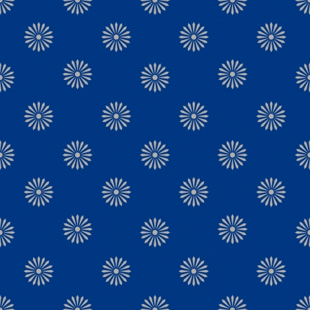 pattern - white flowers on blue background - customizable color on vector design