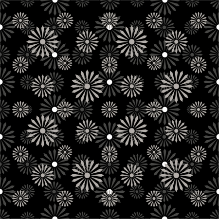 seamless flowers, pattern monochrome black and white - customizable color on vector design Illustration