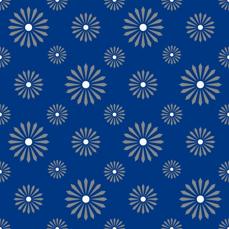 seamless floreal pattern monochrome blue and white - customizable color on vector design
