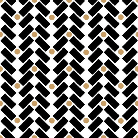 ethnic seamless design pattern black white and gold - customizable color on vector design