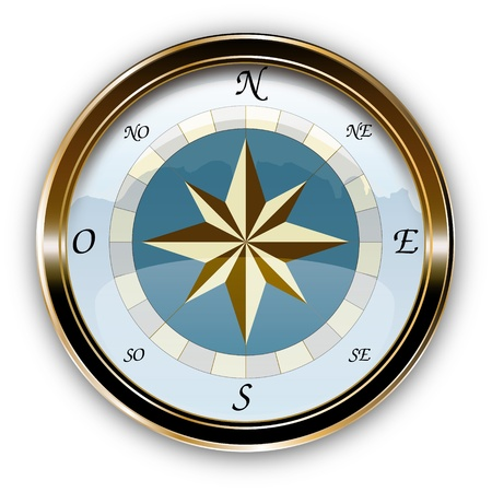 Vector marine compass, navigation vintage instrument