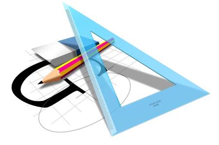 Vector pencil, ruler, eraser, Concept graphic designer composition, customizable Illustration