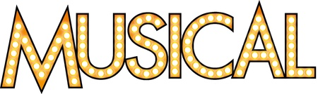 broadway: Musical geschriebenen Text mit Gl�hlampen, wie Leuchtreklamen den Theatern am Broadway