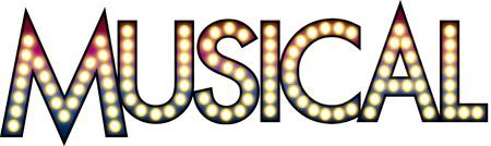 ブロードウェイの劇場街のネオン看板などの球根と音楽、テキスト  イラスト・ベクター素材