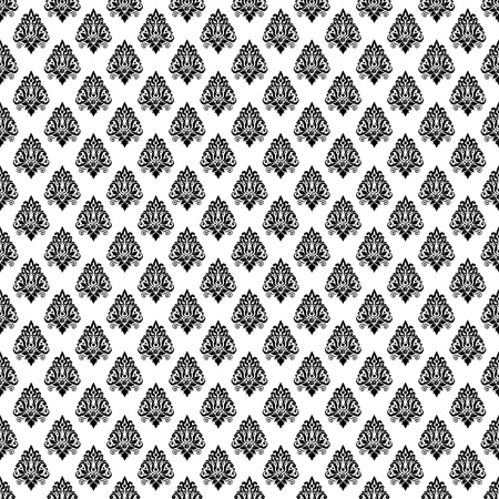 damask monochrome black and white damaged fabric seamless pattern 12x12 inch Stock Photo