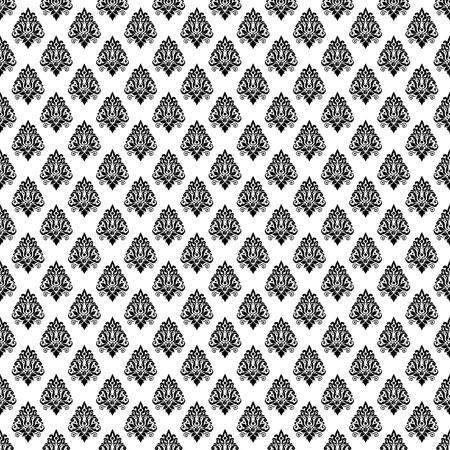 damask monochrome black and white damaged fabric seamless pattern 12x12 inch Stock Photo