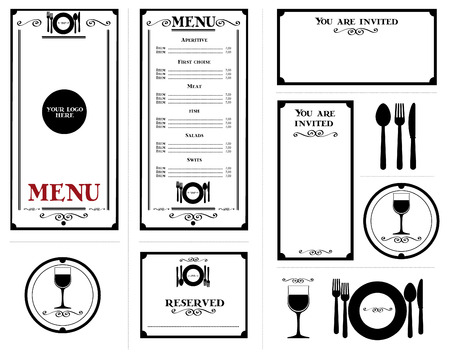 Restaurant stationery elements, Vectorial fully customizable reservation ticket, invitation, coaster