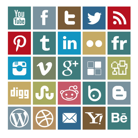 social media colored icon-set Editorial