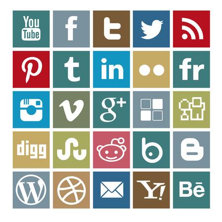 social media colored icon-set Editorial