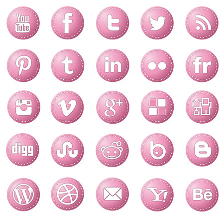social media icon-set red rounded
