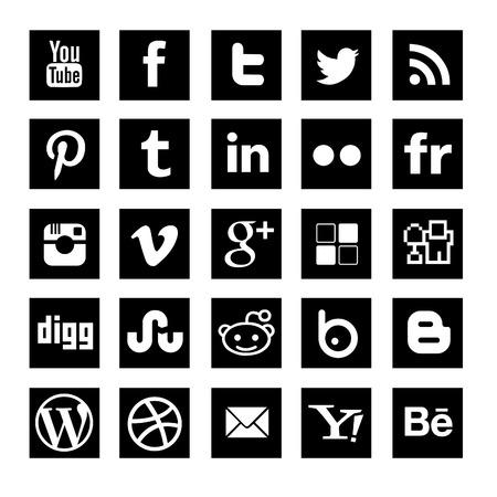 social media icon-set black squared Editorial