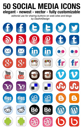 like icon: 50 new social media icons set elegant squared and rounded