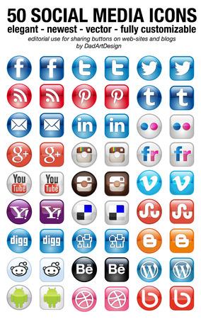 icono web: 50 nuevos iconos de redes sociales establecidas elegante cuadrado y redondeado Editorial