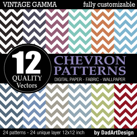 12 chevron vectorial vintage color patterns Vector