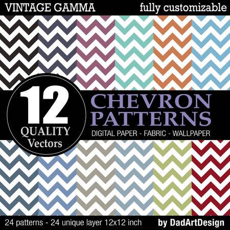 12 chevron vectorial vintage color patterns