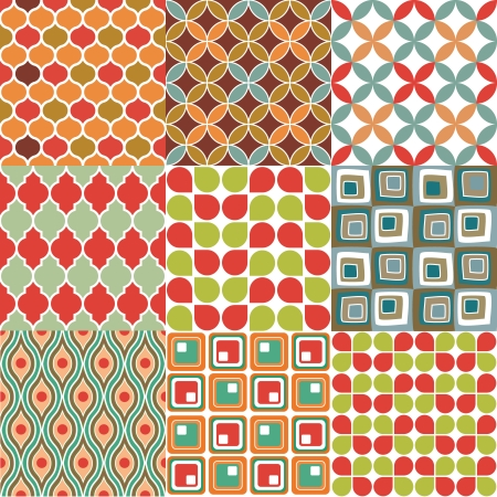 70s: Seamless retro patterns - 9 vectorial vintage wallpaper