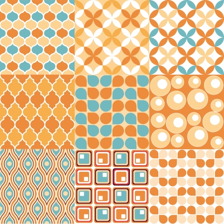 Seamless retro patterns - 9 vectorial vintage wallpaper