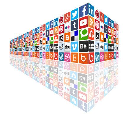 Social media 3d wall perspective - most popular social icons