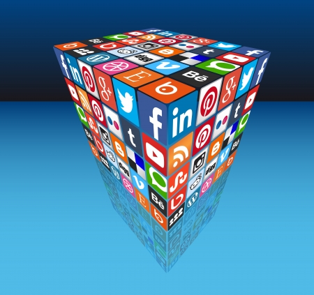 Social media cube 3D - most popular share icons in perspective Редакционное