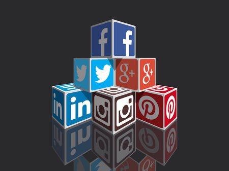 Social Media concept cubes - most popular social icons in perpspective building Редакционное