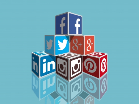 Social Media concept cubes - most popular social icons in perpspective building Editorial