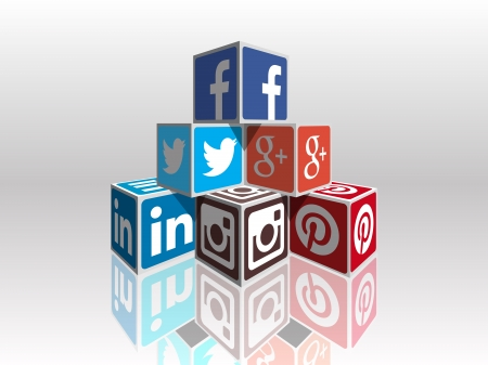 tweet icon: Social Media concept cubes - most popular social icons in perpspective building Editorial