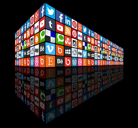 Social media wall 3d perspective - most popular social icons
