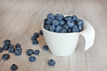 White cup with fresh ripe blueberries Stock Photo - 15516130