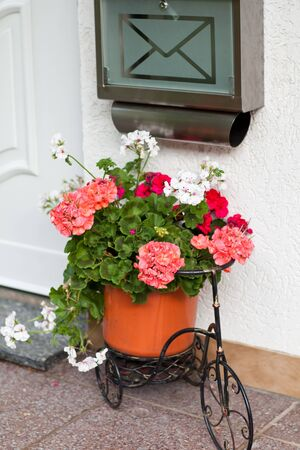Mailbox and Bicycle decorated with flowers infront of door photo