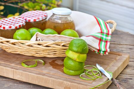 Homemade lemon and lime jam in a glass jar and fresh fruits Stock Photo - 15905057