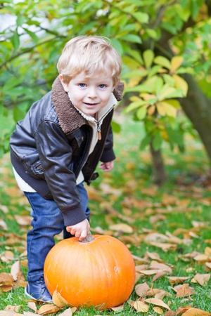 Little toddler boy with big orange pumpkin in autumn garden photo