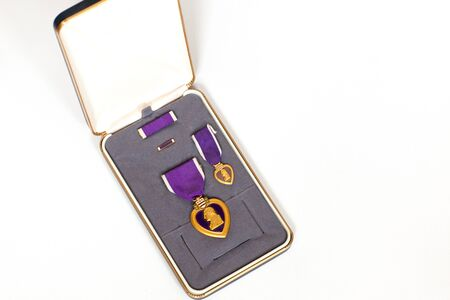 A Purple Heart Military medal in its box photo