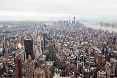 New York City Manhattan skyline aerial view with Empire State building on rainy day photo